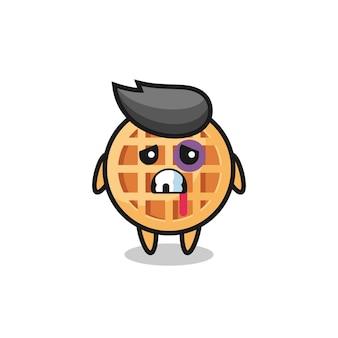 Personaggio waffle cerchio ferito con una faccia contusa, design carino