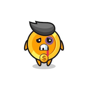 Personaggio con moneta in valuta dollaro ferito con una faccia contusa, design in stile carino per maglietta, adesivo, elemento logo