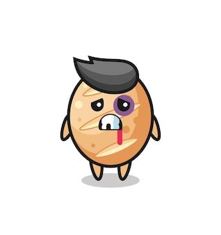 Personaggio di pane francese ferito con una faccia contusa, design carino