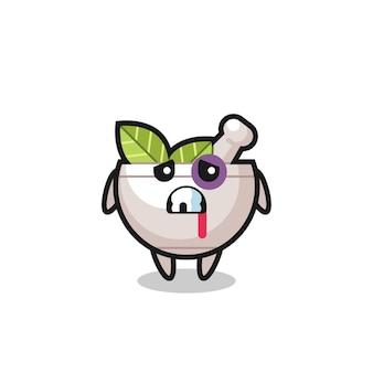 Personaggio della ciotola di erbe ferito con una faccia contusa, design in stile carino per maglietta, adesivo, elemento logo