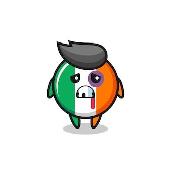 Carattere del distintivo della bandiera dell'irlanda ferito con una faccia contusa, design in stile carino per t-shirt, adesivo, elemento logo