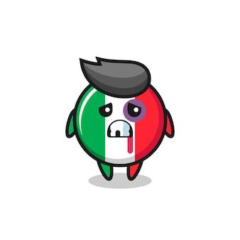 Personaggio della bandiera italiana ferito con una faccia contusa, design in stile carino per maglietta, adesivo, elemento logo