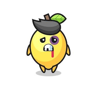 Personaggio di limone ferito con una faccia contusa, design in stile carino per maglietta, adesivo, elemento logo