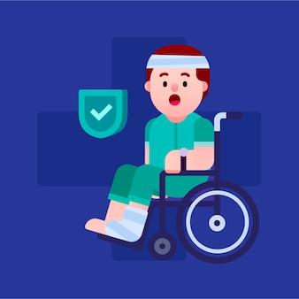 Uomo ferito nel concetto di assicurazione sulla vita in sedia a rotelle