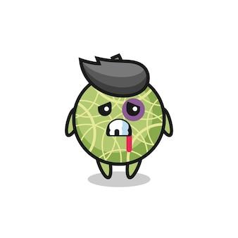 Personaggio di frutta melone ferito con una faccia contusa, design in stile carino per maglietta, adesivo, elemento logo