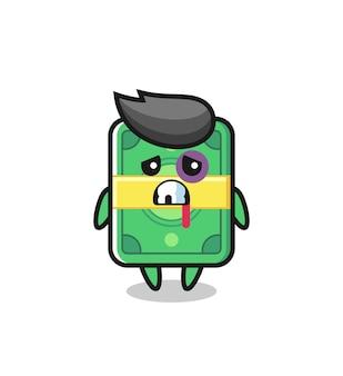 Personaggio di denaro ferito con una faccia contusa, design in stile carino per maglietta, adesivo, elemento logo