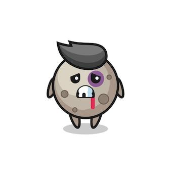 Personaggio lunare ferito con una faccia contusa, design in stile carino per maglietta, adesivo, elemento logo