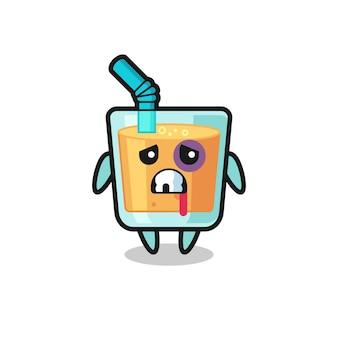 Personaggio ferito con succo d'arancia con faccia ammaccata, design in stile carino per maglietta, adesivo, elemento logo