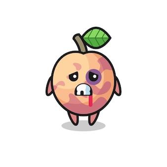 Personaggio di frutta pluot ferito con una faccia contusa, design in stile carino per maglietta, adesivo, elemento logo