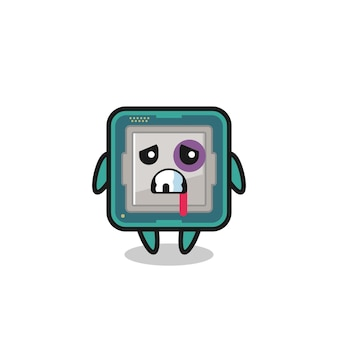 Personaggio del processore ferito con una faccia contusa, design in stile carino per maglietta, adesivo, elemento logo