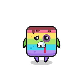 Personaggio di torta arcobaleno ferito con una faccia contusa, design in stile carino per maglietta, adesivo, elemento logo