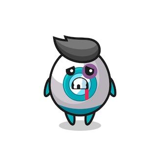 Personaggio razzo ferito con una faccia contusa, design in stile carino per maglietta, adesivo, elemento logo