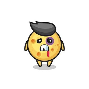 Personaggio di formaggio rotondo ferito con una faccia contusa, design in stile carino per maglietta, adesivo, elemento logo