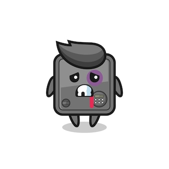 Personaggio della cassetta di sicurezza ferito con una faccia contusa, design in stile carino per maglietta, adesivo, elemento logo