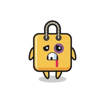 Personaggio della borsa della spesa ferito con una faccia contusa, design in stile carino per maglietta, adesivo, elemento logo
