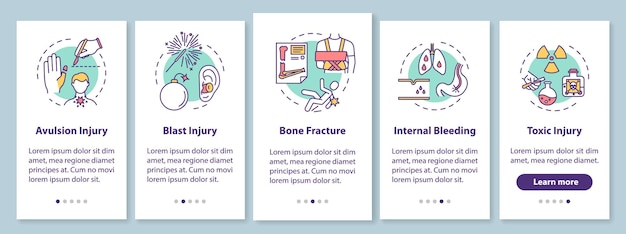 Tipi di lesioni nella schermata della pagina dell'app mobile a bordo con concetti. avulsione ed esplosione, frattura e intossicazione: istruzioni grafiche in 5 passaggi. modello vettoriale dell'interfaccia utente con illustrazioni a colori rgb