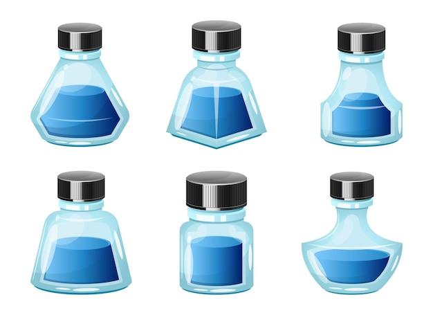 Illustrazione di design della bottiglia di inchiostro isolato su sfondo bianco
