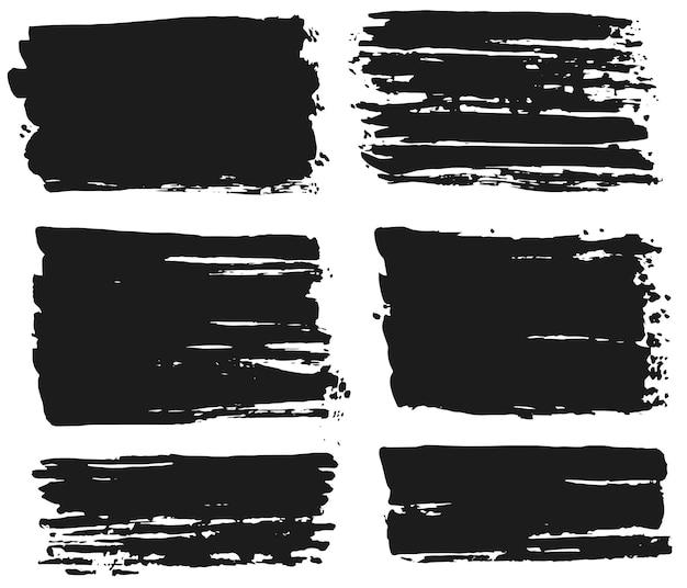 Pennellate di inchiostro, set di macchie di vernice. disegno astratto creativo della macchia fatta a mano. vettore Vettore Premium