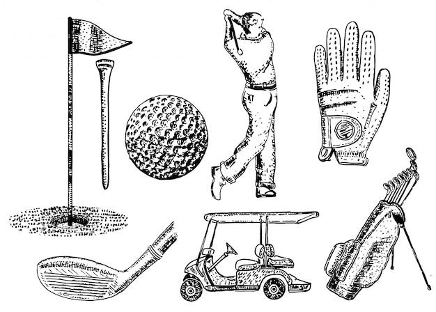 Set di icone da golf disegnati a mano inchiostro