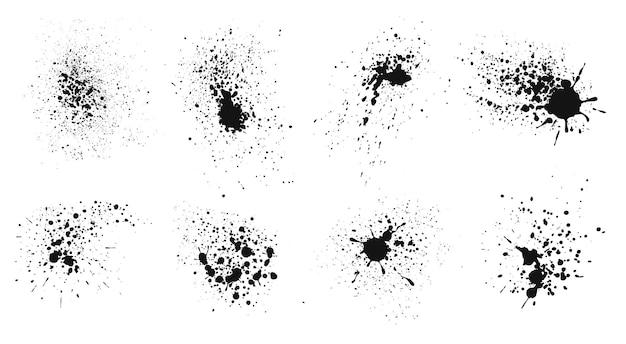 Spruzzi di inchiostro schizzi di vernice spray grunge spruzzi di liquido nero gocce che cadono set di macchie