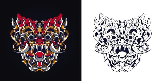 Inchiostrazione e illustrazione di opere d'arte indonesiana balinese della cultura a colori