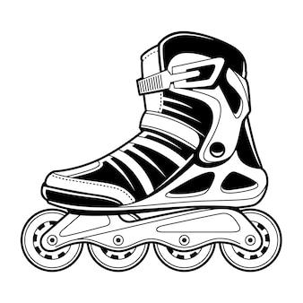 Linea arte tecnica del pattino a rotelle in linea su bianco. illustrazione in bianco e nero.