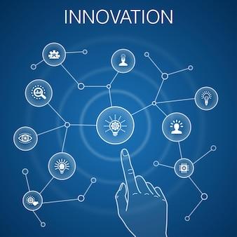 Concetto di innovazione, sfondo blu. ispirazione, visione, creatività, icone di sviluppo