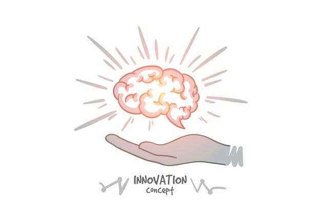 Concetto di innovazione. cervello umano disegnato a mano nelle mani. cervello come simbolo di creatività e idee illustrazione isolata.