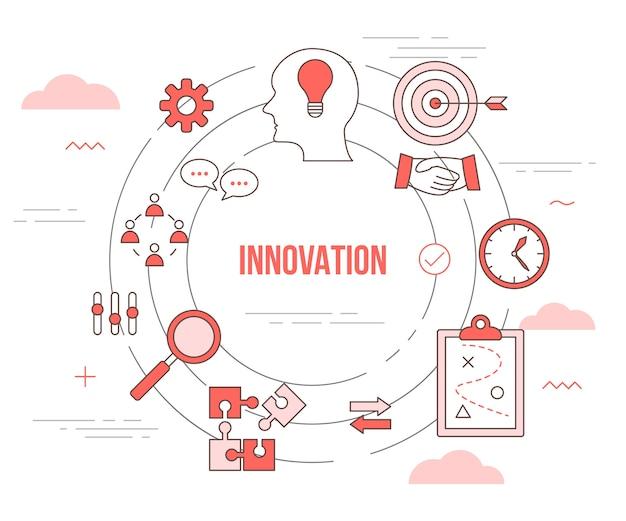 Concetto creativo di innovazione con banner modello set con stile moderno di colore arancione