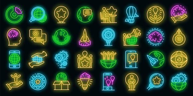 Set di icone di innovazione. contorno set di icone vettoriali innovazione colore neon su nero