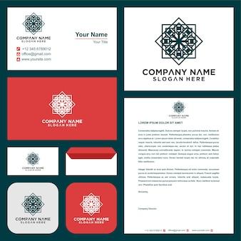 Logo e biglietto da visita per la crescita delle foglie dell'idea di innovazione