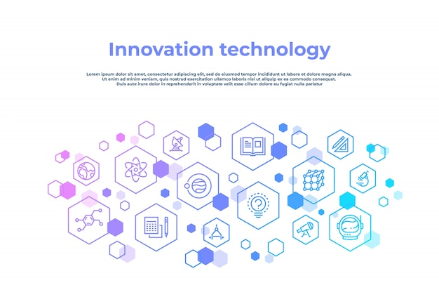 Concetto di linea di innovazione. ricerca di laboratorio, tecnologia creativa invenzione concetto astratto di affari. poster di tecnologia