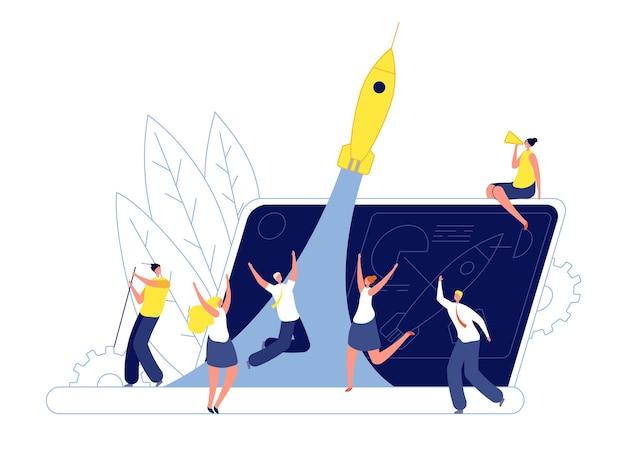Avvio del lavoro di squadra per l'innovazione. azienda tecnologica emergente, team che lancia un razzo. nuovo progetto di idea, illustrazione di vettore di affari creativi. innovazione dell'idea di avvio