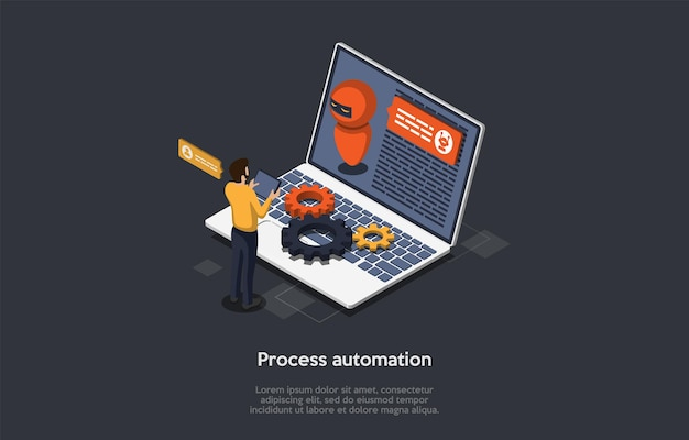 Innovazione tecnologica, ingegneria informatica, concetto di automazione dei processi robotici. un ingegnere di software per computer che programma rpa per completare processi aziendali specifici