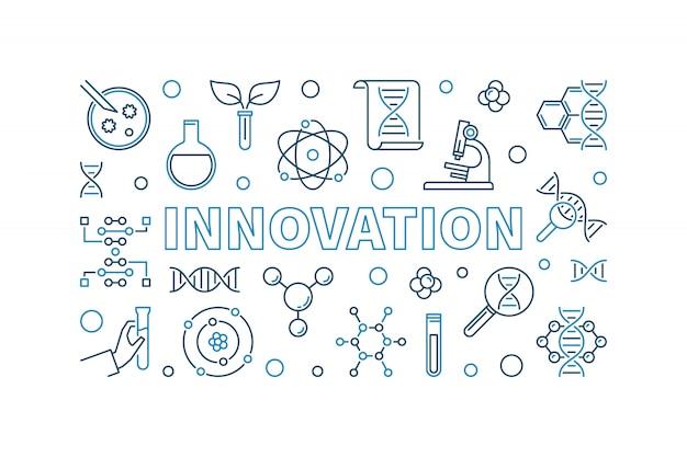Banner creativo di contorno vettoriale di innovazione