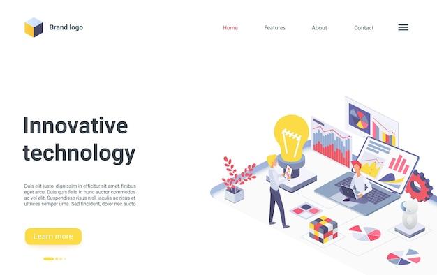 Pagina di destinazione isometrica della tecnologia innovativa per il lavoro di squadra