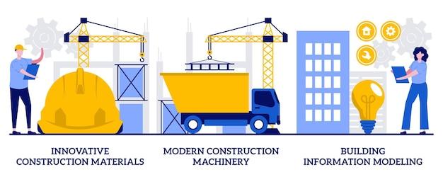 Materiali da costruzione innovativi, macchinari moderni, concetto di modellazione delle informazioni sulla costruzione con persone minuscole. insieme dell'illustrazione di vettore dell'innovazione di tecnologia di costruzione. metafora della gestione del progetto.