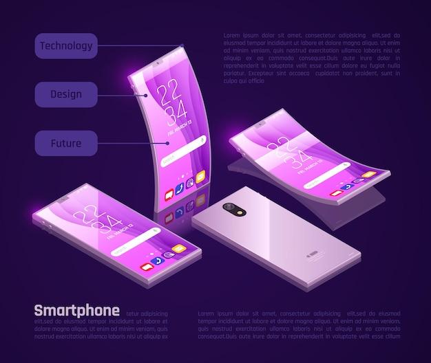 Innovativi gadget pieghevoli schermi tastiere compatte per l'archiviazione ideali per l'illustrazione di poster promozionali per smartphone isometrici da viaggio