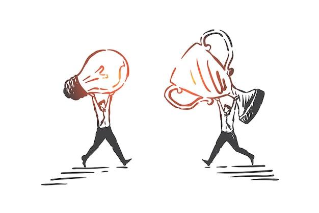 Idea innovativa, cooperazione, illustrazione di schizzo del concetto di avanzamento generale