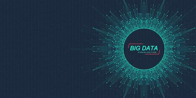 Tecnologie innovative per l'elaborazione di big data, analisi e strutturazione delle informazioni. visualizzazione di grandi dati. algoritmi di apprendimento automatico dei big data. catturare i dati. illustrazione vettoriale futuristico.