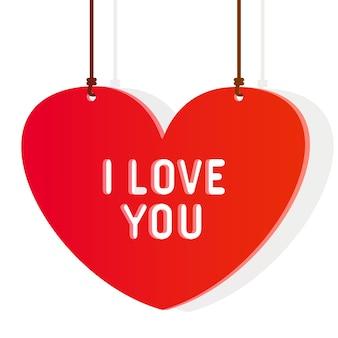 L'iscrizione sul grande cuore rosso ti amo isolato su bianco