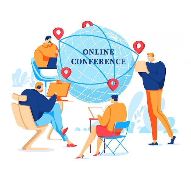 Iscrizione, conferenza online, reti informatiche del controllo di comunicazione di internet, illustrazione piana di stile, isolata su bianco.