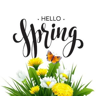 Iscrizione spring time su sfondo con fiori primaverili. sfondo floreale di primavera. fiori di primavera.