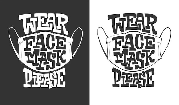 Iscrizione indossare la maschera per il viso per favore