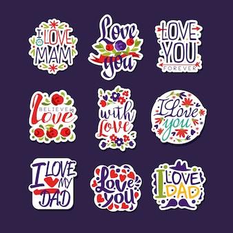 Iscrizioni sull'amore impostato