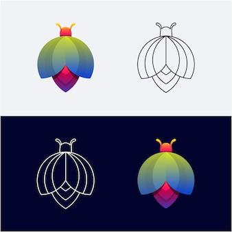 Colore sfumato del logo dell'insetto e grafica al tratto