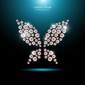 Ritratto dell'insetto fatto con gemme di strass isolato su sfondo nero. logo farfalla, icona fly. modello di gioielli, prodotto fatto a mano. modello brillante. siluetta della farfalla, fine in su.