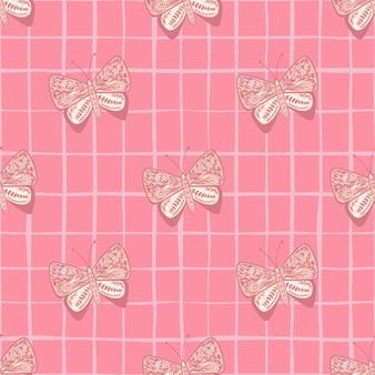 Modello senza cuciture di insetti con ornamento decorativo a farfalla popolare