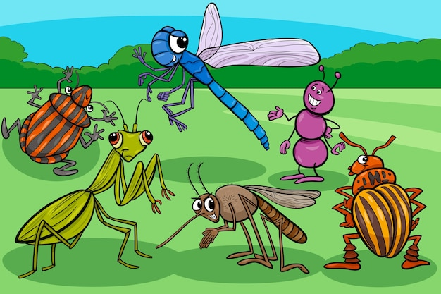 Gruppo di personaggi dei cartoni animati divertenti insetti e insetti
