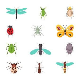 Illustrazione isolata dell'insieme piano delle icone degli insetti.